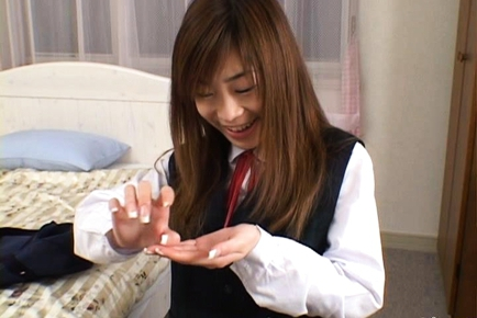 Ami Hinata sweet Asian schoolgirl enjoys cock