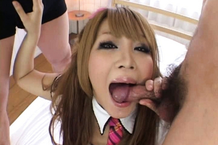 Pretty Asian girl gives a hot blowjob
