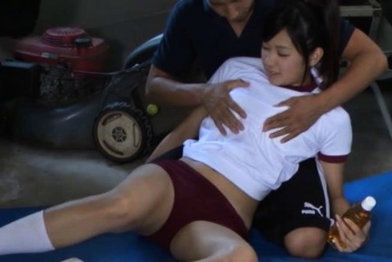 Nastym school girl Nana Ogura gets fucked hard at gym class.