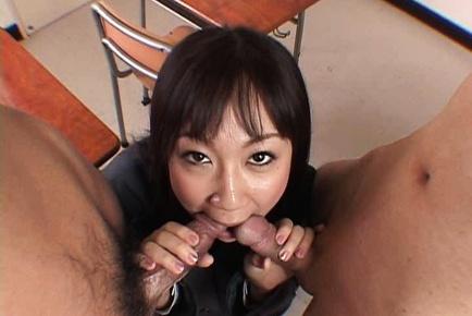 Ryo Akanishi schoolgirl gives double blowjob