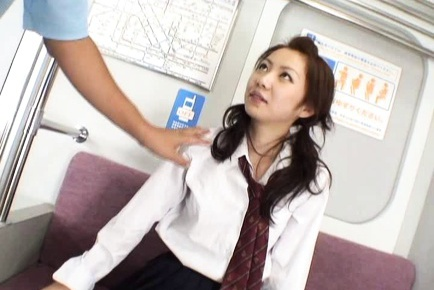 Masaki China gets some pussy stimulation at the bus by some strangers.
