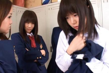 Anri Nonaka and Kurumi crazy Asian schoolgirls have sex