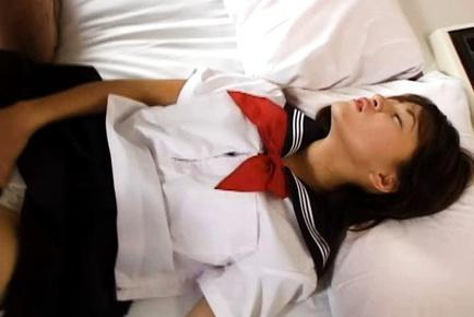 Mika Machida Asian teen enjoys masturbating