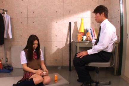 Hot Japanese teen Maho Ichikawa wears her sexy uniform and gets fucked