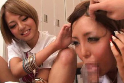 Rena Konishi and her schoolgirl friends share a cock