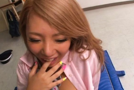 Upskirt threesome with steamy schoolgirl Chika Kitano