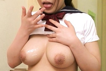 Curvaceous schoolgirl Satomi Nagase has a sex game with her boyfriend