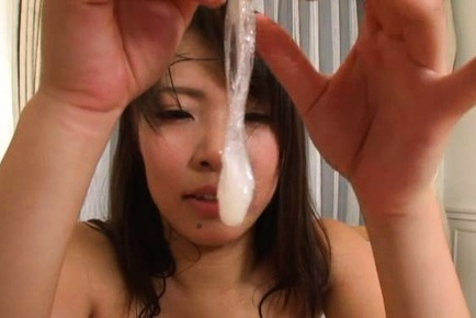 Amazing cock riding scene by perky tits Asian gal