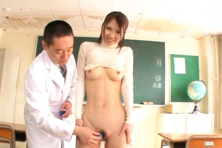 Skinny Japanese schoolgirl Ena Sakura strips and enjoys toy insertion