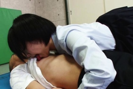 Petite Japanese schoolgirl does facesitting and rides on cock hard